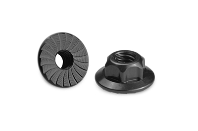 JConcepts 4mm Large Flange Serrated Locknut - Black (4pcs)