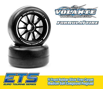 Volante F1 Front Rubber Slick Tires Medium Soft Compound Preglued (Green·2pcs)
