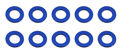 Associated Ballstud Aluminum Washers, 5.5x3.0x0.5 mm (10pcs·Blue)