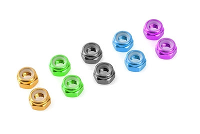 Team Corally - Aluminium Nylstop Nut - M2 - Red - 10 pcs