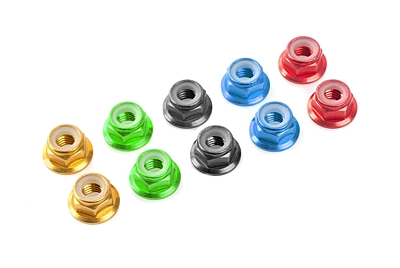 Team Corally - Aluminium Nylstop Nut - M3 - Flanged - Blue - 10 pcs