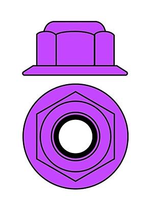 Corally Aluminium Nylstop Nut M4 - Flanged (Purple·10pcs)