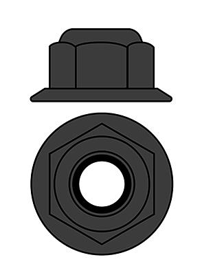 Corally Aluminium Nylstop Nut M4 - Flanged (Gun Metal·10pcs)