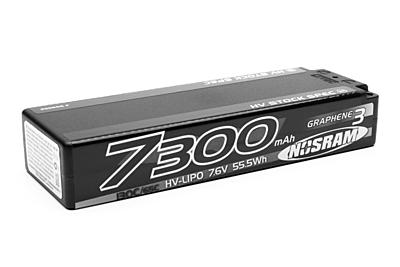 Nosram HV Stock Spec GRAPHENE-3 7300mAh Hardcase Battery-7.6V LiPo-130C/65C