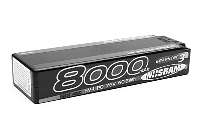 Nosram Graphene-3 Stock Spec 8000mAh 7.6V 2S 130C/65C HV LiPo (5mm, 330g)