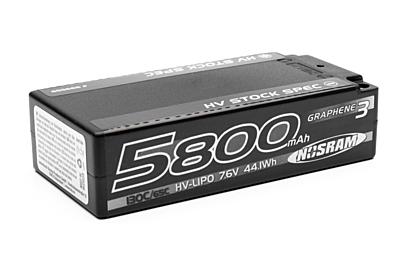 Nosram Graphene-3 Stock Spec Shorty 5800mAh 7.6V 2S 130C/65C HV LiPo (5mm, 220g)