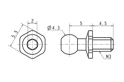 Reve D SPM Titanium Rod End Ball S (Diameter 4.3mm, Screw Length 4.5mm, 2pcs)