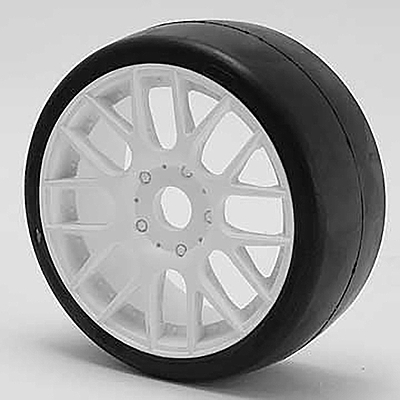 Sweep 1:8 GT-R2 Tires 55 Shore Slick Pre-Glued White Wheel (2 pcs)