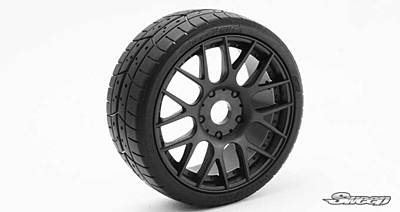 Sweep 1:8 GT Tires 45 Shore Treaded Pre-Glued Black Wheel (2 pcs)